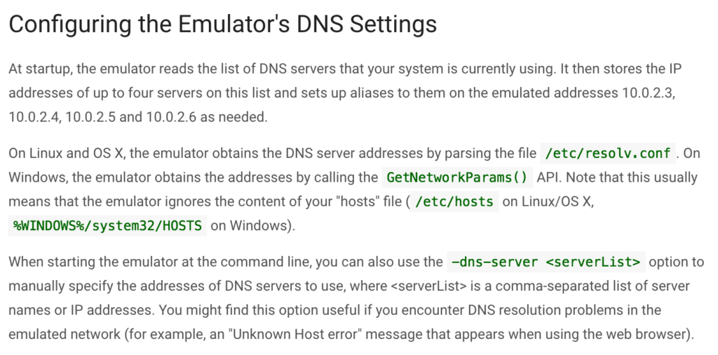 DNS on the Android Emulator – Handstand Sam